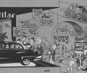 Wally Wood, Creeping Meatballism, Detail, Mad Magazine, March-April 1957 Volume 1, Number 32.