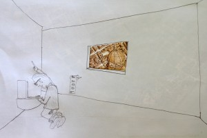 Tobias Hitze/Alan Miller, The Architect Contemplates His Own Faeces (pietà for one), 2011, pencil and found media.