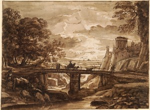 Claude Lorrain, Landscape with a Rider and an Idealized View of Tivoli, 1642. Pen and brown ink with dark brown wash on white paper, 7¾ x 10…œ in. The British Museum, London.