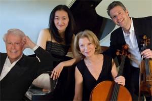 The Arabella Ensemble: Lorenz Gamma, violin; Jennifer Langham, cello; Ming Tsu, piano. Photo Christian Steiner.
