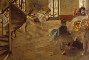 Edgar Degas, The Rehearsal, c. 1874, oil on canvas, 58.4 x 83.8 cm, Lent by Culture and Sport Glasgow on behalf of Glasgow City Council. Gifted by Sir William and Lady Constance Burrell to the City of Glasgow, 1944. Image copyright Culture and Sport Glasgow (Museums).