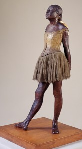 Edgar Degas, The Little Dancer, Aged Fourteen, 1880-1, cast c. 1922, painted bronze with muslin and silk, 98.4 x 36.5 cm. Tate. Purchased with assistance from The Art Fund 1952. Image copyright Tate, London, 2010.