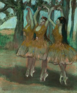Edgar Degas, La Danse Grecque (Dancing Ballerinas), 1885-90, pastel on joined paper laid down on board, 580 x 490 mm. On loan from the Honorable Earle I. Mack Collection.