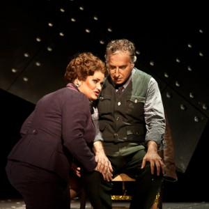 Macbeth (Daniel Sutin) and Lady Macbeth (Carter Scott) confer in Verdi's Opera. Photo Erik Jacobs.