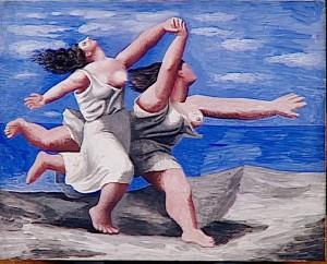 Deux femmes courant sur la plage (La course), 1922