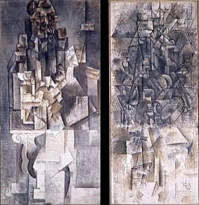 Homme à la guitare (left) and Homme à la mandoline (right), both 1911.