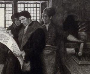 Howard Pyle, Early Printers, etching