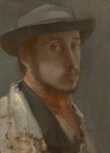 Edgar Degas, Self-Portrait, c. 1855–56 Oil on paper laid down on canvas, 40.6 x 34.3 cm, The Metropolitan Museum of Art, New York. Bequest of Stephen C. Clark, 1960 61.101.6
