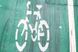 Skidmarks. Evidence of fixie activity on a bike lane in Pyrmont, Sydney. Photo © 2011 Alan Miller.