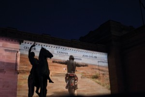 Shaun Gladwell's Approach to Axis Mundi, 2007, projected on the facade of the AGNSW. Photo © 2011 Alan Miller.