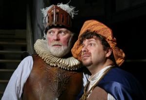 Kevin McGuire as Don Quixote and Robert Anthony Jones as Sancho Panza in Man of La Mancha at Capital Rep.
