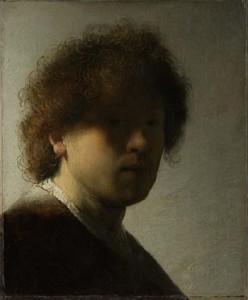 Rembrandt van Rijn, Self-Portrait as a Young Man, c. 1628–29 Oil on panel, 22.6 x 18.7 cm Rijksmuseum, Amsterdam.