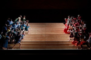"""Chunky Move, the Victorian Opera and the Sydney Phiharmonia Choirs """"hawling like brooligans"""" in Gideon Obarzanek's Assembly. Photo by Jeff Busby."""
