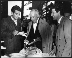 Serge Koussevitzky celebrating his 74th birthday with Leonard Bernstein and Lukas Foss