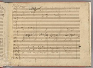 From Beethoven's autograph score of the Ninth Symphony. Photo from the Staatsbibliothek zu Berlin.
