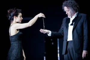 The Sydney Theatre Company's Pygmalion, Act IV, Andrea Demetriades as Eliza and Marco Chiappi as Higgins. Photo by Brett Boardman.
