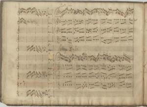 A page from the manuscript score of the RV 571 Vivaldi Concerto. In the Sächsische Landesbibliothek - Staats- und Universitätsbibliothek Dresden.