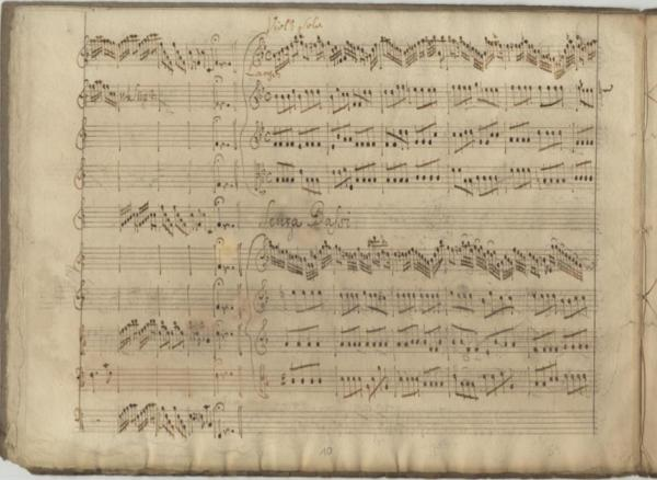 A page from the manuscript score of the RV 571 Vivaldi Concerto. In the Sächsische Landesbibliothek - Staats- und Universitätsbibliothek Dresden.
