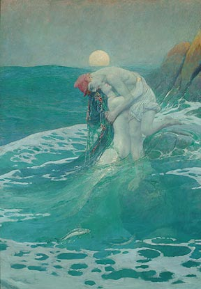 The Mermaid, 1910 Howard Pyle (1853-1911) Oil on canvas, 57 7/8 x 40 1/8 inches Delaware Art Museum, Gift of the children of Howard Pyle in memory of their mother, Anne Poole Pyle, 1940