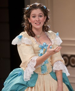 Kelly Galvin in Molière's The Learned Ladies at Shakespeare and Company. Photo Kevin Sprague.