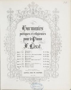 Title page from the 1853 edition of Liszt's Harmonies poétiques et religieuses.