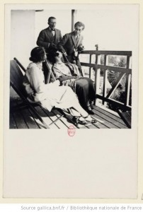 Ravel in Monfort-L'Amaury with Maurice and Nelly Delage, 1925.