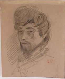 Eugène Delacroix (1798 - 1863), Self-Portrait, 1832 Graphite on paper, 124 x 100 mm. Galerie Normand.
