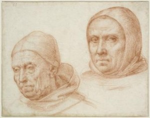 Fra Bartolommeo (1472-1517), Studies of Two Dominicans, red chalk, 132 x 169 mm. Jean-Luc Baroni.