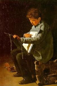 "Francois Bonvin, ""Seated Boy with Portfolio,"" 1857, Chazen Museum of Art"