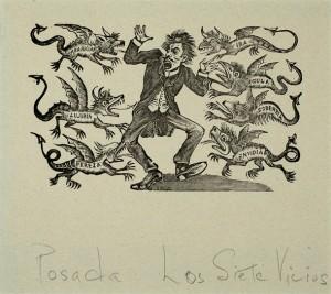 "José Posada, ""The Seven Vices"" zinc etching, date unknown"