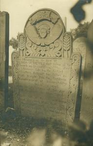 The Gravestone of the Rev. Jedidiah Dewey in situ. Postcard. The Bennington Museum.