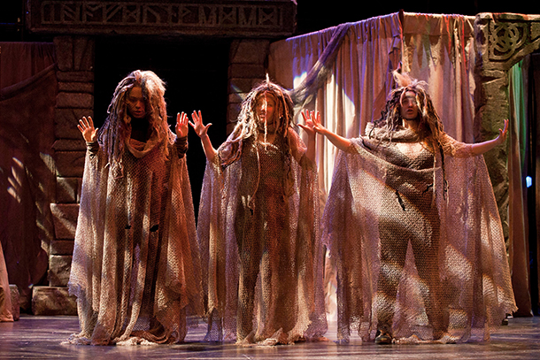 The Weird Sisters in Macbeth: Shakespeare and Company's New England Tour Production. Photo Kevin Sprague.
