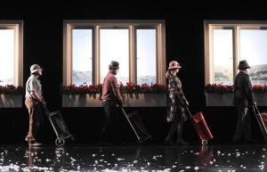 Alan John, Drew Livingston, Helen Thomson and Drew Forsythe in Sydney Theatre Company's Under Milk Wood. Photographer: Heidrun Löhr © 2012