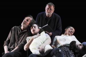 Bruce Spence, Drew Livingston, Jack Thompson, Paula Arundell and Cameron Goodall in Sydney Theatre Company's Under Milk Wood. Photographer: Heidrun Löhr © 2012