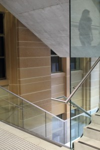 The stairway in the new wing divides old from new. Photo © 2012 Alan Miller.