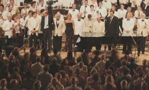 All of the performers at the Tanglewood 75th Anniversary Concert take a bow after the finale. Photo Hilary Scott.