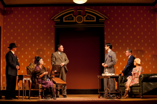 Pictured left to right: Shaun Lennon, Tyne Daly, Sean Cullen, Louis Cancelmi, Glenn Fitzgerald, and Amy Spanger in a scene from The Importance of Being Earnest. Photo by T. Charles Erickson
