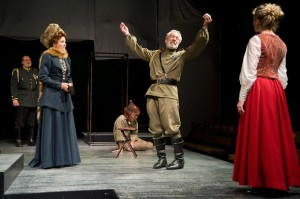 Corinne May, Dennis Krausnick, and Kristin Wold in Shakespeare & Co.'s KIng Lear. Photos © 2012 Kevin Sprague.