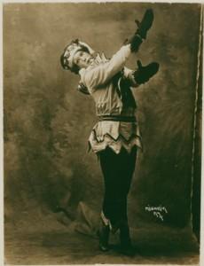 Nijinsky dancing Petrouchka, 1911.