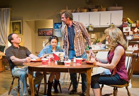 Gene (Josh Aaron McCabe), Susie (Kate Abruzzese), Ronnie (Jason Askpey) and Joellen (Elizabeth Aspenlieder) at table. Photo © 2012 Kevin Sprague
