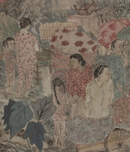 Yun-Fei Ji, Three Gorges Dam Migration, 2009 (detail), 2009 (detail), hand-printed watercolor woodblock on Xuan Zhi paper, mounted on silk, scroll 975 cm long. Courtesy the artist and Museum of Modern Art Library, New York. Photograph: Ellen Watson.