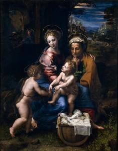 Fig. 5. Raphael. The Virgin and Child with Saint Anne and the Baptist (La Perla). Oil on panel, 147,4 x 116 cm. (1519 - 1520) Madrid, Museo Nacional del Prado.