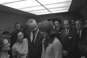 Aboard Air Force One in Dallas, 22 November 1963. LBJ Library photo by Cecil Stoughton.
