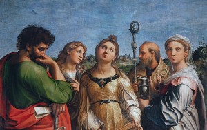Fig. 1. Raphael, Santa Cecilia. Oil on panel transferred to canvas, 236 x 149 cm (ca. 1515 - 1516) Bologna, Pinacoteca Nazionale.