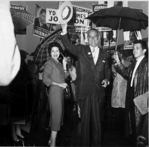 LBJ and Lady Bird campaigning in campaigning in Mankato, MN, 21 September 1960. LBJ Library photo by Frank Muto.