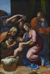 Fig. 9. Raphael and workshop (Gianfrancesco Penni?). The Madonna of Divine Love. Oil on panel, 140 x 109 cm (ca. 1516). Naples, Museo di Capodimonte.