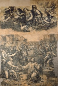 Fig. 7. Giulio Romano. Cartoon for The Stoning of Saint Stephen. Charcoal and black chalk on paper, mounted on canvas, 411 x 285 cm (1520 - 1521). Vatican City, Musei Vaticani.