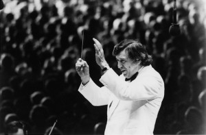Gunther Schuller conducts in the Tanglewood Music Shed c. 1970s (Photographer Unknown, Courtesy BSO Archives)