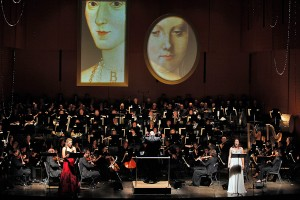 Saint-Saëns' Henry VIII, Jennifer Holloway as Anne Boleyn, Ellie Dehn as Catherine of Aragon, American Symphony Orchestra, conducted by Leon Botstein. Photo Cory Weaver.