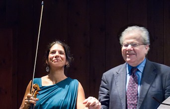 Pamela Frank and Emanuel Ax take their bows. Photo Leslie Teicholz.